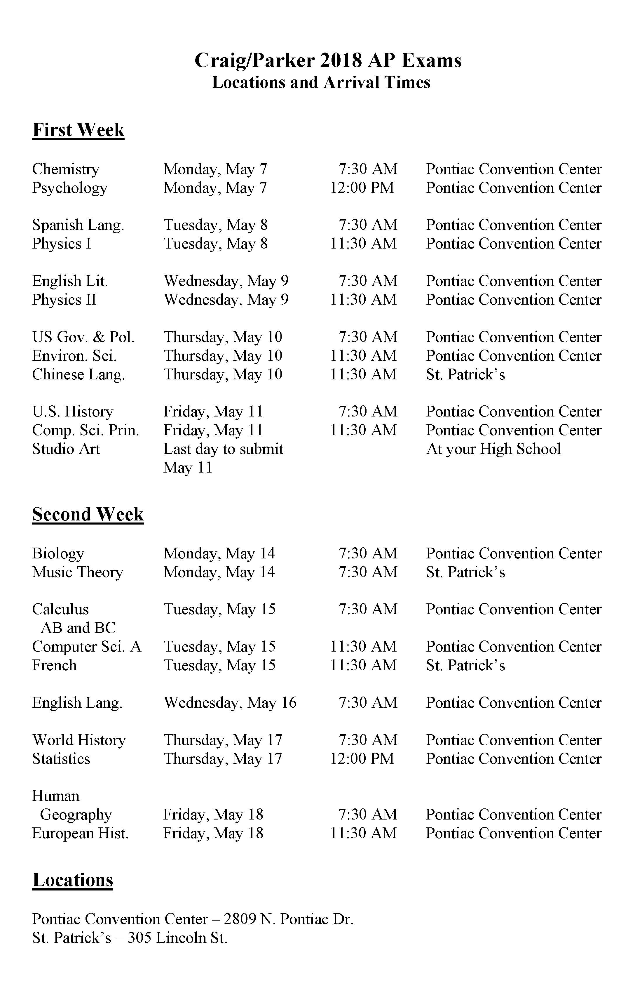 AP Test Dates and Locations
